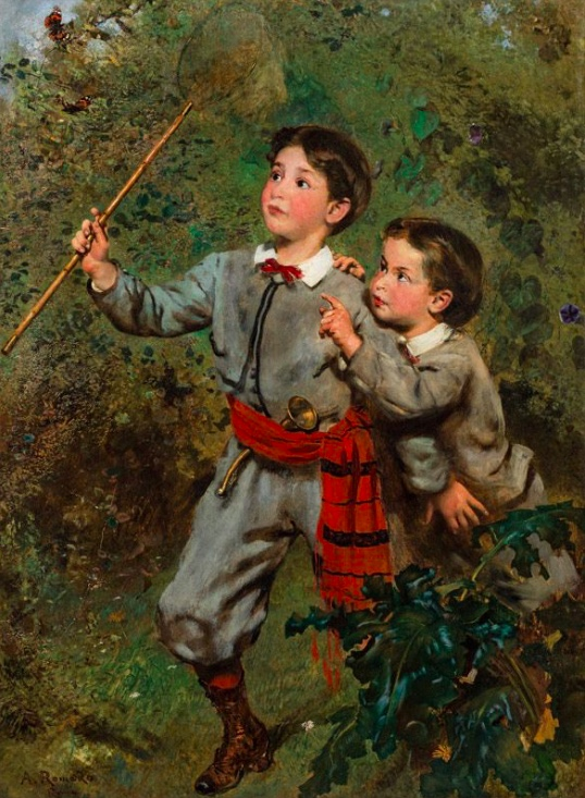 ANTON ROMAKO (Atzgersdorf bei Wien 1832 - 1889 Wien) - Zwei Kinder mit Schmetterlingsnetz, Öl/Lwd., signiert, um 1873