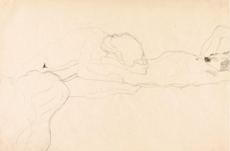 "Gustav Klimt, ""Liebespaar Nach Rechts Liegen"" 1904-05 Foto: Sotheby's."