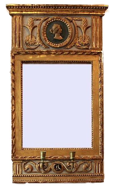 Gustaviansk spegel, förgylld. Hagelins Antik. Pris: 16 500 kronor.
