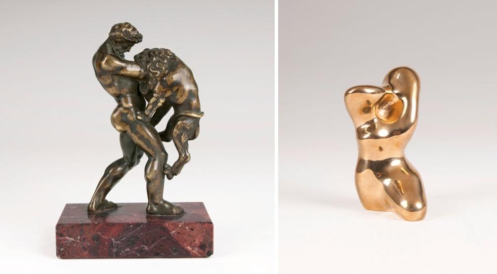 Links: VETTOR GAMBELLO gen. CAMELIO (um 1460 Venedig 1537) - Herkules und der Nemäische Löwe, Bronze, oliv-braun patiniert, Marmorplinthe, Venedig 16. Jh. Rechts: HANS (JEAN) ARP (1886 Straßburg - 1966 Basel) - Torso-Profil, Bronze mit goldpolierter Patina, 1958