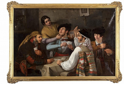 "JOAQUÍN DOMÍNGUEZ BÉCQUER. Partida de cartas en la taberna. Firmado ""Joaquón D. Becquer"" (1843)"