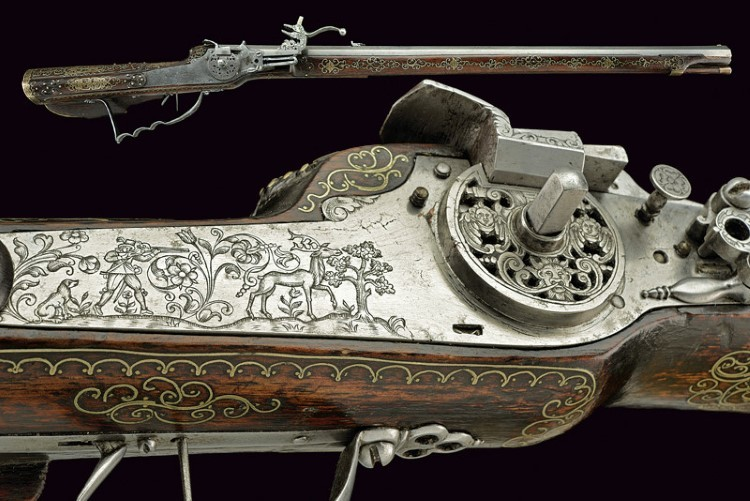 A very fine wheel-lock rifle with inlay decorations by Hans Ruhr. Low estimate: 21 900 USD