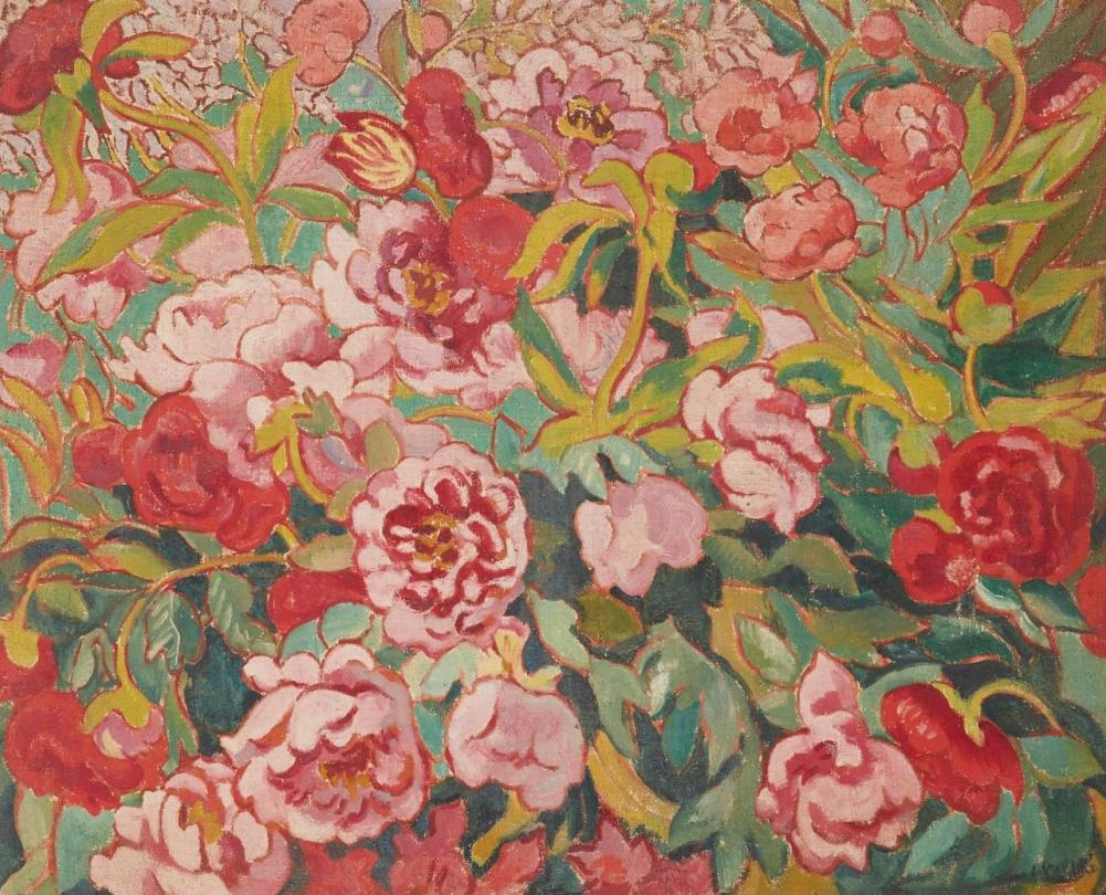 Louis VALTAT (Dieppe 1869 - Paris 1952) Parterre de pivoines et tulipes, circa 1906
