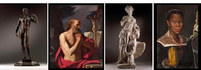 Från vänster; Giambologna (1529-1608) Julius Caesar, ca 1551. Signerad. En nyupptäckt studie av Giovanni Francesco Barbieri (1591-1666), föreställande ängeln Jerome. En magnifik skulpturgrupp föreställande den romerska guden Saturnus och hans hustru Ops, skapad av den tyska barockskulptören Paul Heermann. Annibale Carracci (1560-1609). Porträtt av en afrikansk kvinna hållandes en klocka, ca 1583-85.