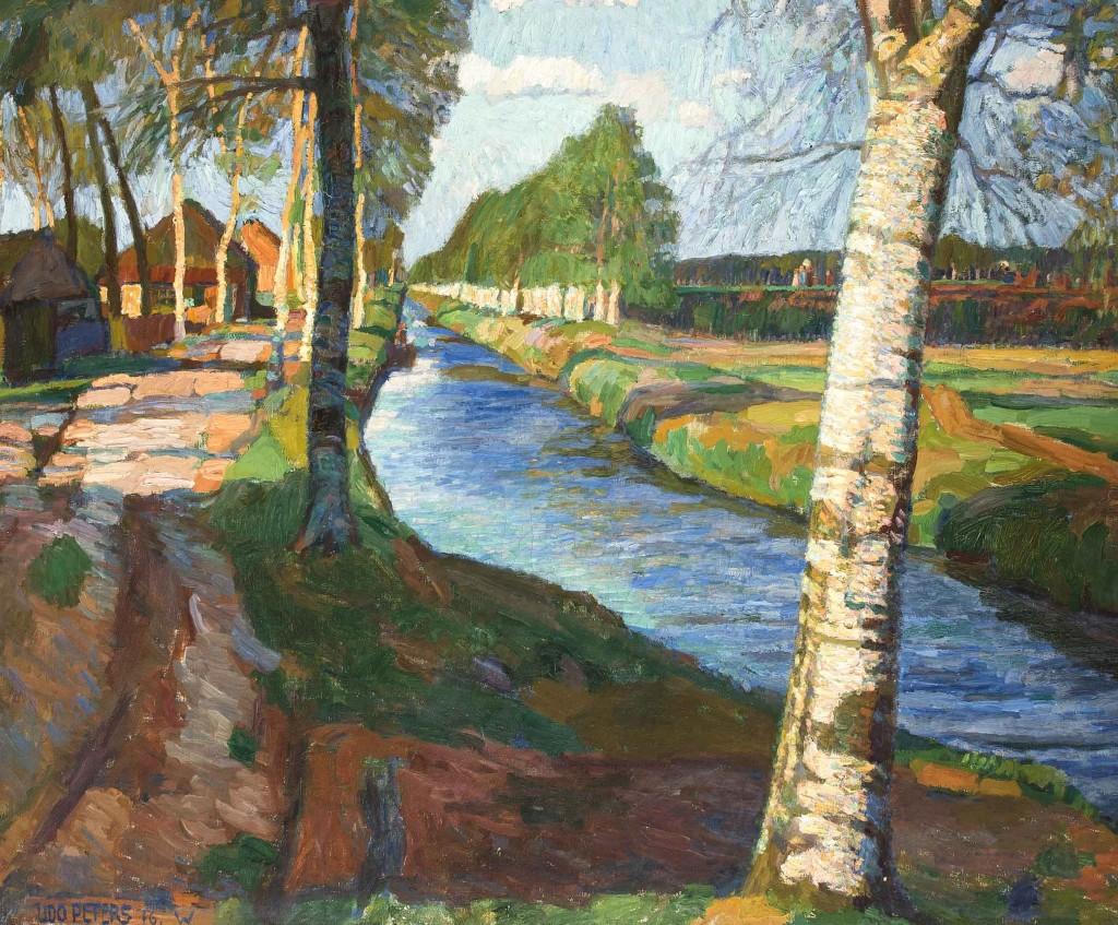 UDO PETERS (1883 Hannover - 1964 Worpswede) - Am Torfkanal, Öl/Lwd., 91,5 x 113,5 cm, signiert und datiert, 1916 Mindestpreis: 5.500 EUR