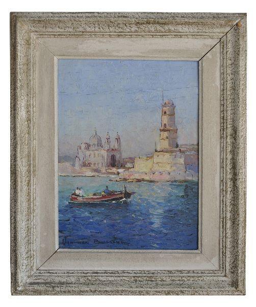 Peinture huile sur isorelle Marine Van den Bussche Marseille Antiquités
