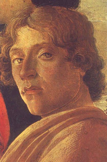 """Sandro Botticelli (Autoportrait) Detail de """" L'Adoration des Rois Mages """" vers 1474 Galleria degli Uffizi - Florence"""