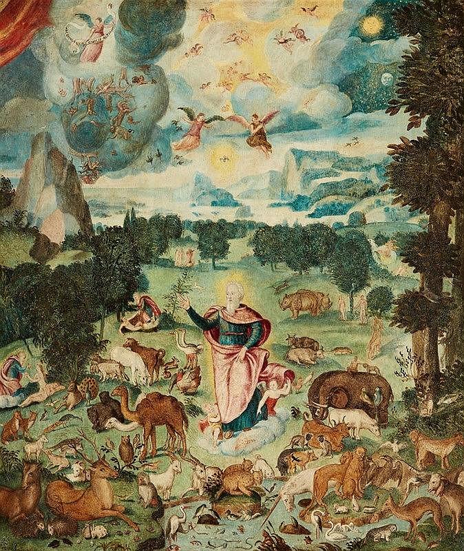 HANS BOCKSBERGER (um 1510 Mondsee - 1561 Salzburg) zugeschrieben - Die Erschaffung der Welt, Öl/Holz