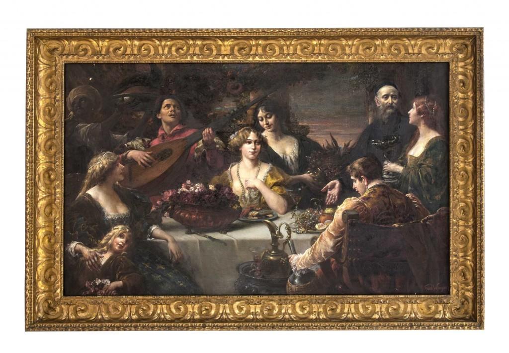 FERDINAND WAGNER (1847 Passau - 1927 München) - Festmahl einer italienischen Adelsfamilie, Öl/Lwd., 90 x 150 cm, signiert Mindestpreis: 10.000 EUR