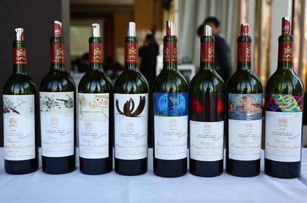 Mouton Rotshild wines, auction, art
