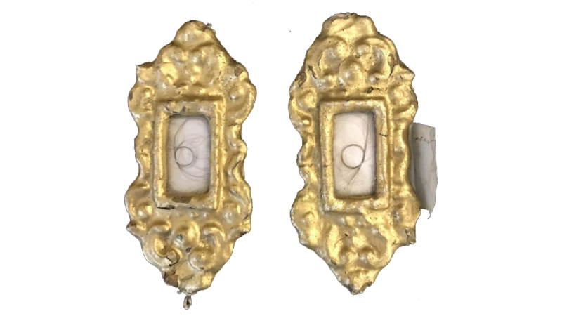 Two early 19th century locket frames with the hair of Napoleon I and Josephine. Image: Henry Aldridge