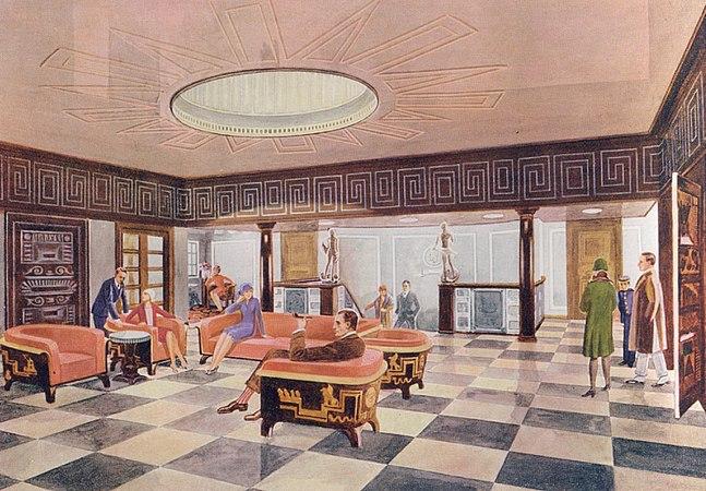Ett av de främsta exemplen på svensk Art Déco är M/S Kungsholm. Passagerarfartyget tillhörde Svenska Amerika Linien och byggdes 1927-28 av skeppsvarvet Blohm + Voss i Hamburg. Arbetet med inredning och konstnärlig utsmyckning leddes av Carl Bergsten. Vilket resulterade i konst, möbler och föremål från Carl Malmsten, Simon Gate, Edward Hald, Wilhelm Kåge, Isaac Grünewald, Elsa Gullberg, Märta Måås-Fjetterström för att nämna några av våra största