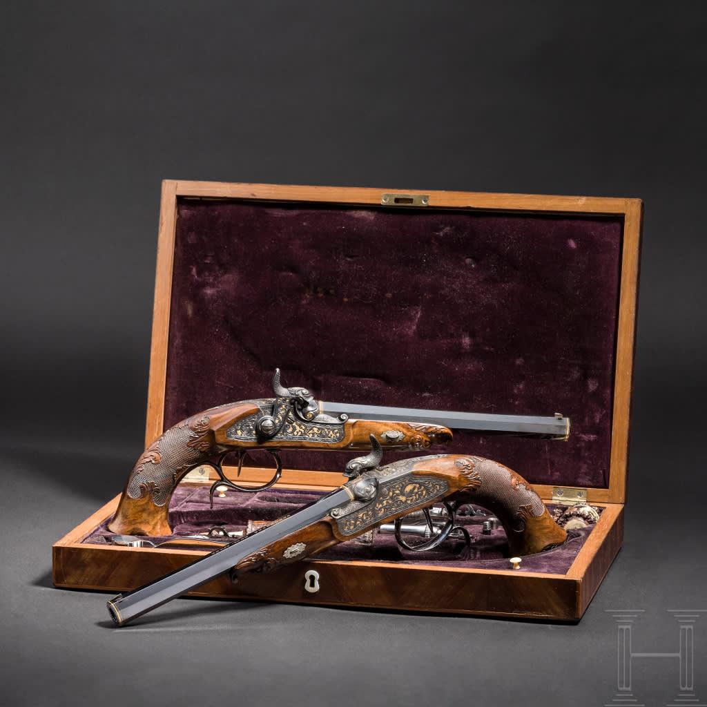 Ett par slaglåspistoler från 1800-talets mitt som tillhört hertigen Ernst II av Sachsen-Coburg-Gotha.