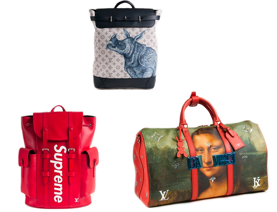 Oben: LOUIS VUITTON & JAKE & DINOS CHAPMAN - Steamer Backpack 'Rhinozeros' Unten links: LOUIS VUITTON & SUPREME - LV x Supreme Christopher PM Backpack Unten rechts: LOUIS VUITTON & JEFF KOONS - Masters LV x Koons Keepall 50 'Da Vinci'