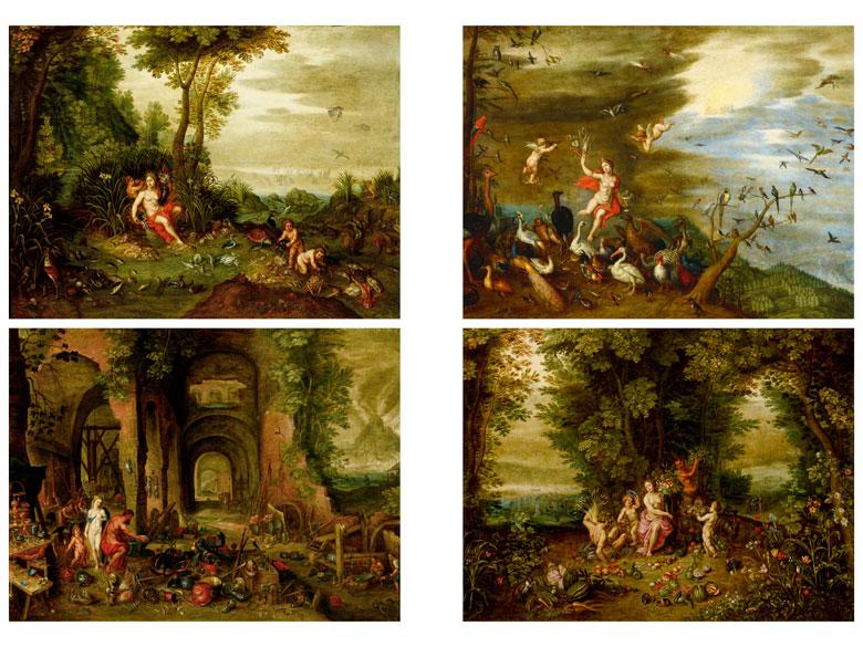 Jan Brueghel d. J. (1601 Antwerpen 1678) und Werkstatt, Die vier Elemente, Öl/Lwd.   Foto: Hampel