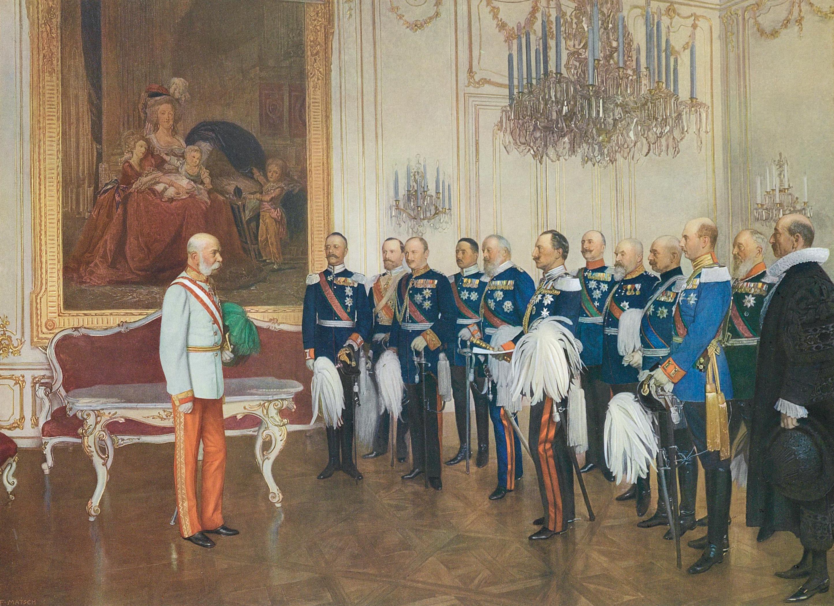 Franz Matsch, Die deutsches Bundesfürsten huldigen Kaiser Franz Joseph, 1908 | Abb. via Wikipedia