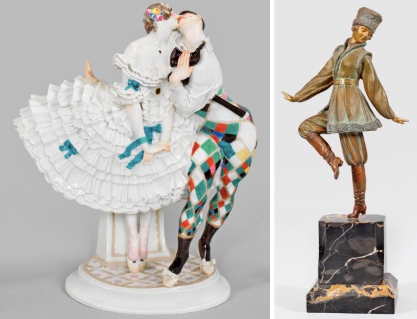 Links: MEISSEN - Harlekin und Columbine, Paul Scheurich, 1914 Taxe: 2.800 EUR Rechts: DIMITRI CHIMARUS (1886 Dorohai - 1947 Paris) - Tanzende Kosakin, Bronze, Marmor, signiert Taxe: 12.500 EUR