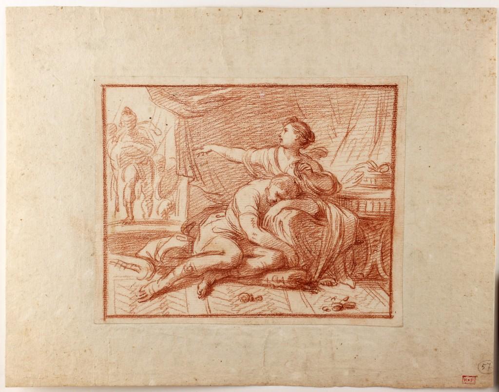 LUIGI GARZI (1638 Pistoia - 1721 Rom) - Samson und Delila, rote Kreide/Papier, 185x230 cm Preis: 1.500 EUR