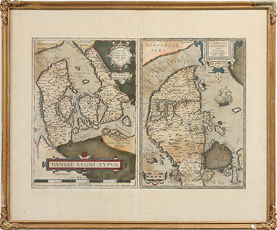 KARTA, inramad, Daniae regni typvs. Utropspris: 1 000 SEK. Göteborgs Auktionsverk