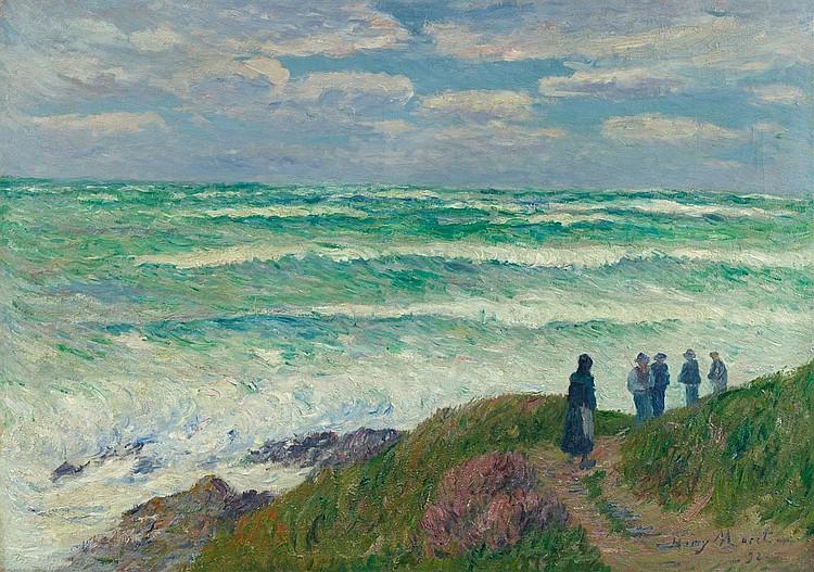 HENRY MORET (1856 Cherbourg - 1913 Paris) - Gros temps, Öl/Lwd., signers und datiert, 1898