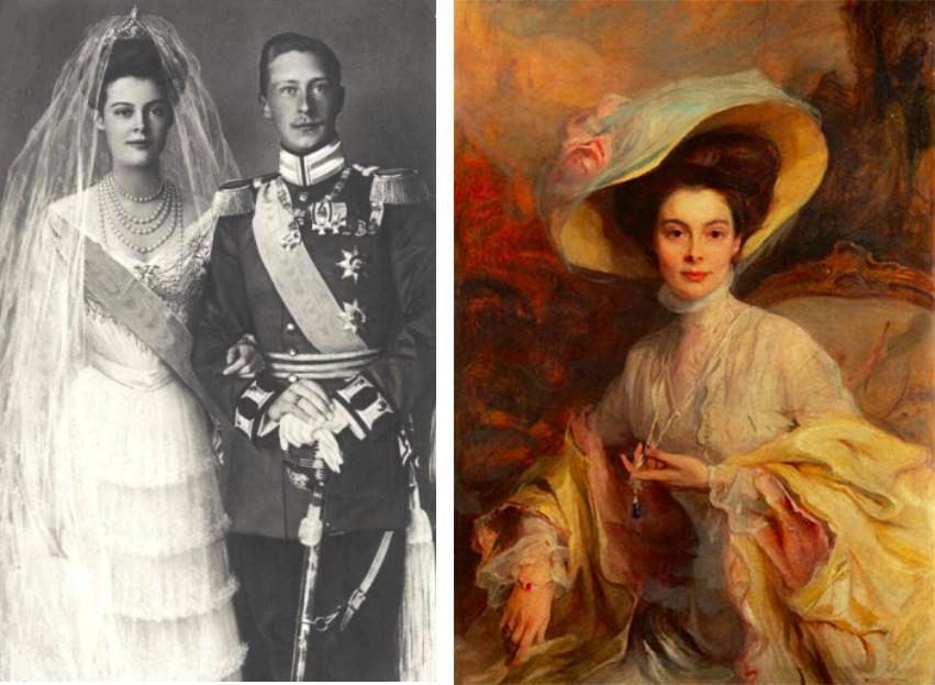 Links: Im Juni 1905 heirate Cecilie zu Mecklenburg-Schwerin den deutschen Thronfolger Wilhelm Rechts: Kronprinzessin Cecilie auf einem Portrait von  Philip Alexius de László, 1908