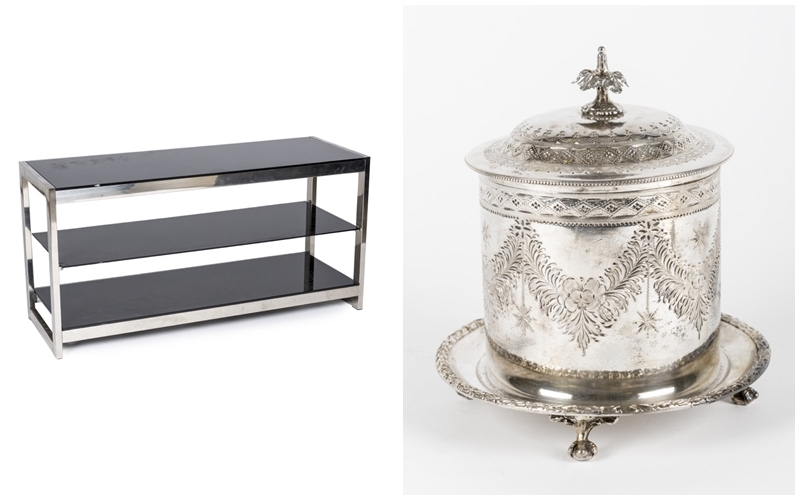 Left: Low shelf in chromed metal and glass (80's). Photo via: Goya Auctions. Right: Photo via: Goya Auctions.