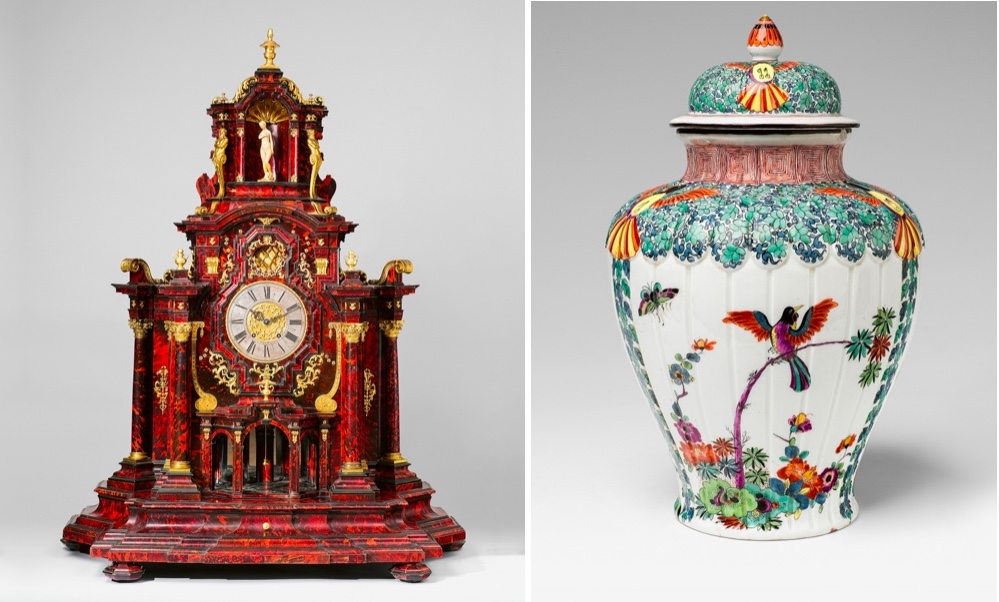 Links: Augsburger Prunkkabinett mit Uhr, wohl Werkstatt Heinrich Eichler d.Ä., um 1700 Rechts: MEISSEN - Deckelvase mit polychromer Bemalung im Kakiemon-Stil, um 1728-30