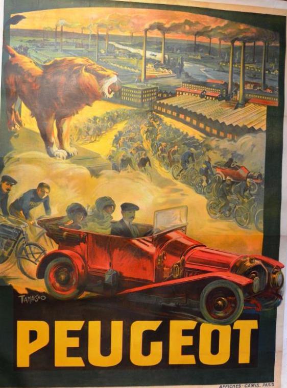 """Francisco Nicolas TAMAGNO (1851-1933) """"Peugeot""""  Affiche signée en bas à gauche. Imprimerie Camis à Paris, circa 1909.  Osenat"""