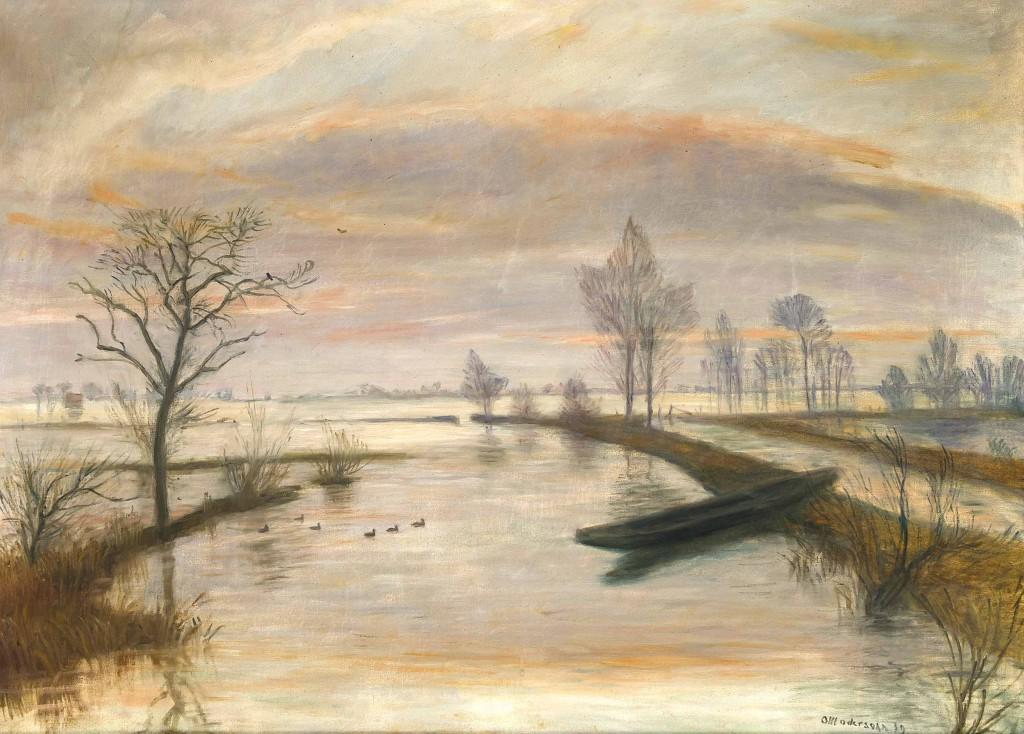 OTTO MODERSOHN (1865 Soest - 1943 Rotenburg) - Überschwemmte Wümmewiesen, Öl/Lwd., 39,6x83,5 cm, signiert und datiert, 1939 Mindestpreis: 15.000 EUR