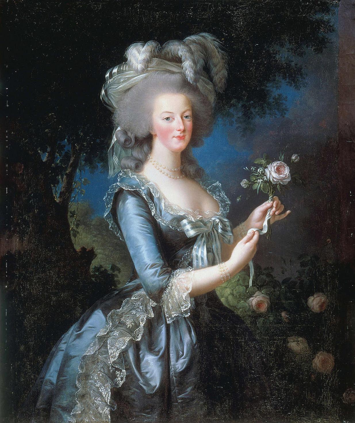 Portrait de Marie Antoinette, 1783 par Elisabeth Vigee-Le Brun, image via Wikimedia Commons
