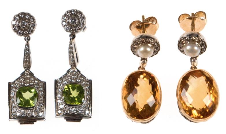 Links: Paar Ohrstecker aus Weiß- und Gelbgold mit Peridots (zus. 3,04 ct) und Brillanten (zus. 1,29 ct) Limitpreis: 1.900 EUR Rechts: Paar Ohrstecker aus Weiß- und Gelbgold mit Citrinen (zus. 16,17 ct), Brillanten (zus. 0,67 ct) und Perlen Limitpreis: 1.200 EUR