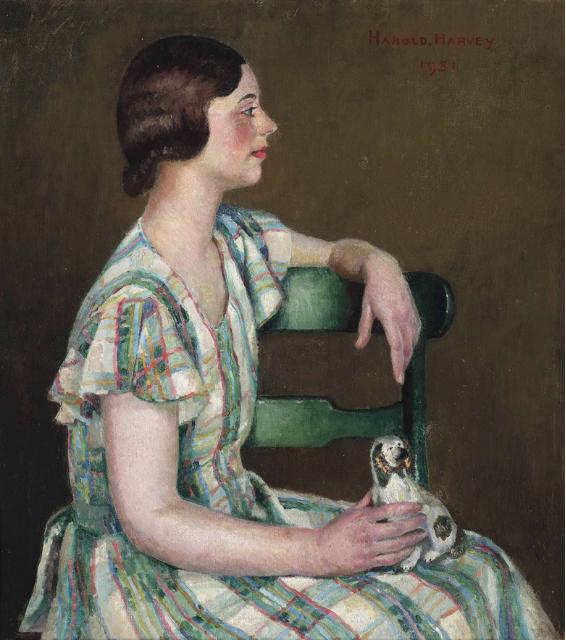 Harold C. Harvey (1874-1941), Study in Green, 1931. Olja på canvas. Målningen säljs hos Christie's den 22 mars.