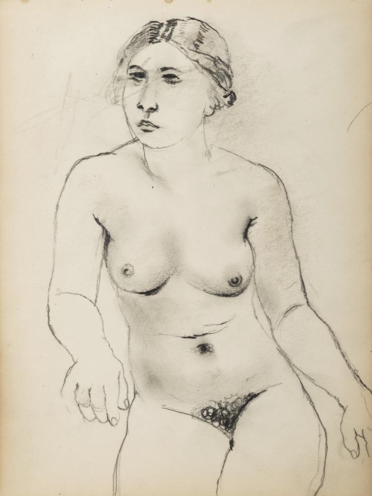 Paul Delvaux, Femme assise, ca. 1930s. 24,7 x 18,3 cm
