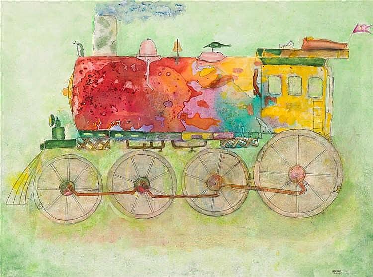 VÍCTOR DELGADO (*1943 Kuba) - Locomotora sin vida, Mischtechnik/Lwd., signiert und betitelt, 2005
