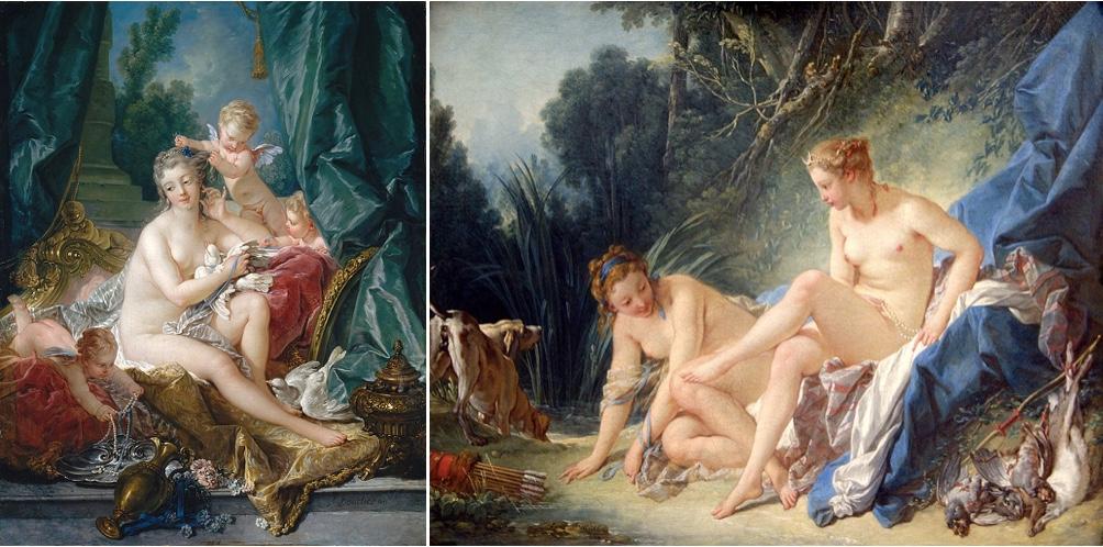 François Boucher (1703-1770) Links: Die Toilette der Venus, 1751 Rechts: Diana im Bade, 1742