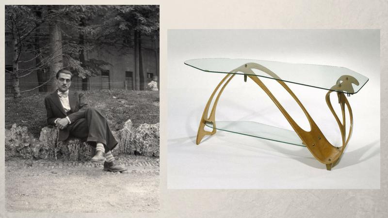 Links: Carlo Mollino | Foto via leroi.torino.it | Rechts: Couchtisch von Carlo Mollino (1949) im Brooklyn Museum