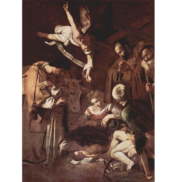 Le Caravage, Nativité avec Saint-François et Saint-Laurent, 1600, huile sur toile