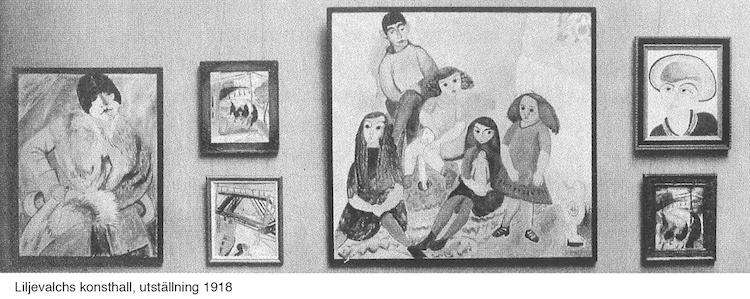 """Målningen var en av de verk som visades i den oerhört moderna och epokavgörande utställningen """" Expressionistutställning"""" på Liljevalchs konsthall i maj 1918"""