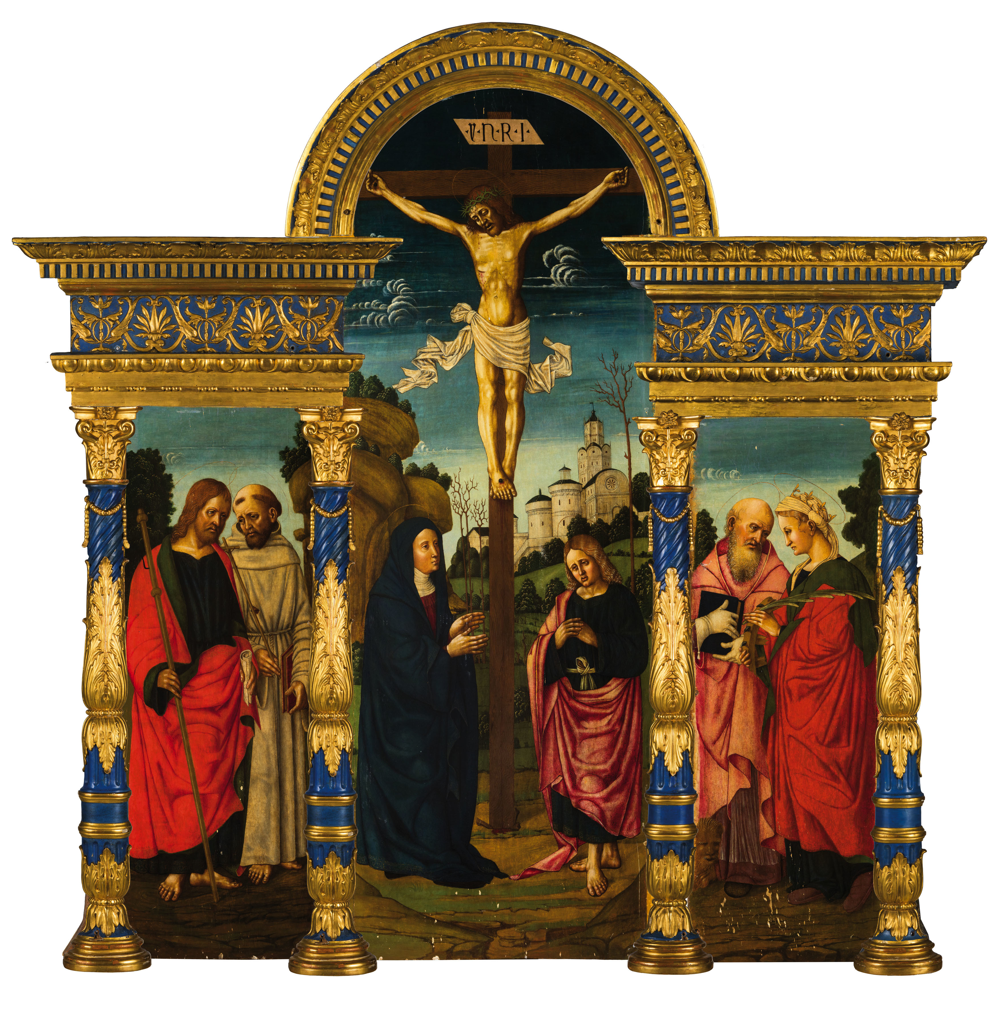 AIMO VOLPI (Casale, active 1491-1524) and BALZARINI VOLPI (Casale, active 1493-1555) - triptych with crucifixion and saints, oil / wood
