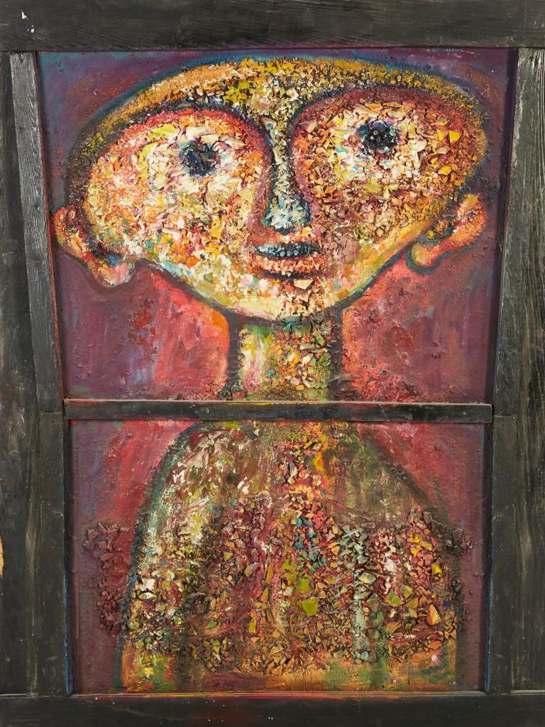 Roger Chomeaux, dit Chomo, Personnage souriant dans un cadre fenêtre, acrylique sur bois, image ©Estim Nation