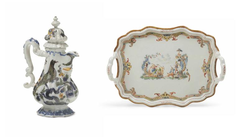 Links: Kaffeekanne aus der Manufaktur Pasquale Antonibon, Nove 1740-60 Rechts: Tablett aus der Manufaktur Pasquale Antonibon