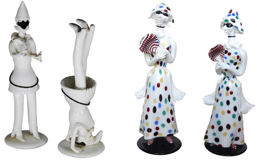 Figuren aus der Commedia dell'Arte von Fulvio bianconi für Venini | Foto via cambiaste.com, 1stdibs.com