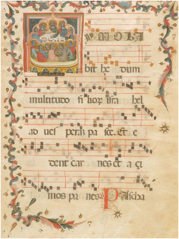 FRA Jacobus ark från en antifonal med en skildring av den sista måltiden och åtföljande text: Imola Bit hedum ... 2. Responsorium i Corpus-Domini-festival. Veneto, ca.1390, pergament. 55,7 x 38,9 cm. Initial ca. 13 x 12,5 cm. 6 Tetragrams. Äkta guldram. Proveniens: New York, samling Robert Lehman (fram till 2004) Hamburg, samling Jörn Günther (2004) schweiziska privatsamling (sedan 2005)