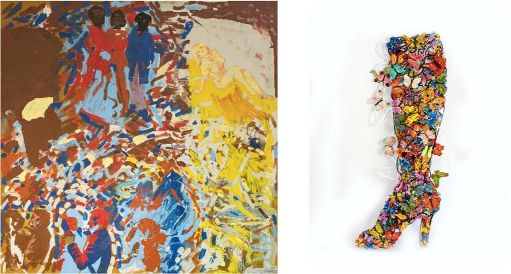 Links: PER KIRKEBY (*1938 Kopenhagen) - Ohne Titel, Öl u. Bleistift/Hartfaserplatte, 1965 Rechts: DAVID GERSTEIN (*1944 Israel) - Wandskulptur aus Schmetterlingen, Elegance, lasergeschnittenes Metall, bemalt, signiert, 2009