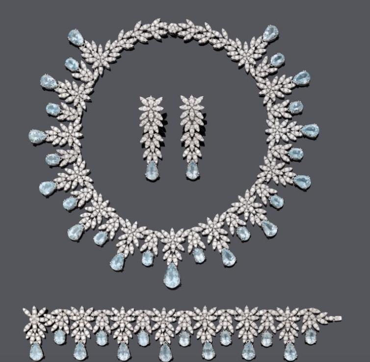 PASQUALE BRUNI - Parure de la collection Ghirlanda, or blanc, aigues-marines et diamants