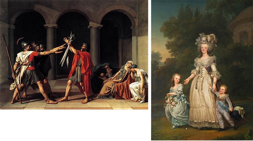 Links: Jacques-Louis David, Der Schwur der Horatier, 1784 | Abb. via Wikipedia Rechts: Adolf Ulrik Wertmüller, Marie Antoinette und ihre Kinder, 1785 | Abb. via Wikipedia