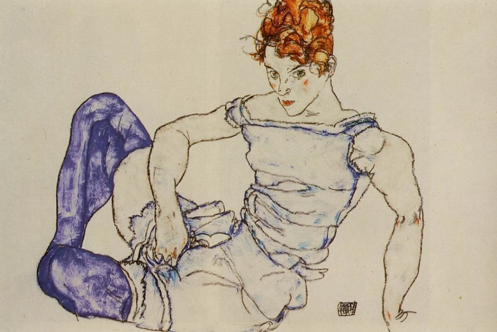 Egon Schiele, Seated Woman in Violet Stockings (1917) Image: courtesy of egon-schiele.com website