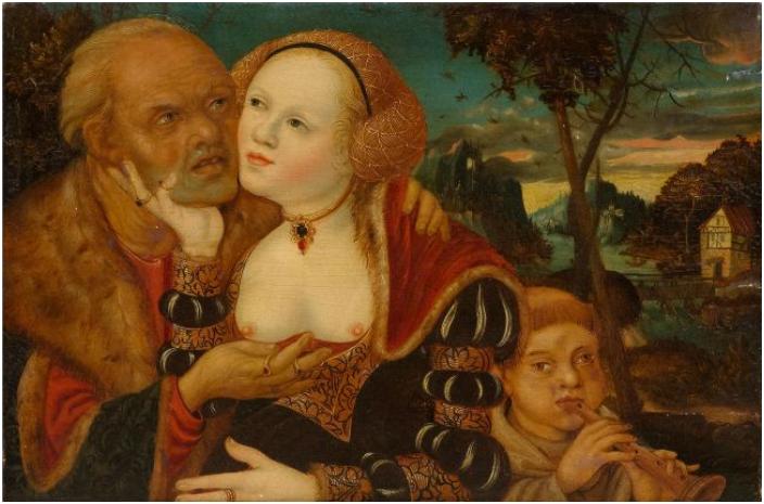 LUCAS CRANACH d.Ä. (1472 Kronach-1553 Weimar), Umkreis, Ungleiches Paar mit flötendem Knaben, Öl/Holz, Maße: 28x42,5 cm     Auktionstermin: 18. September, 15 Uhr     Schätzpreis: 25.000-35.000 CHF (23.810-33.330 EUR)
