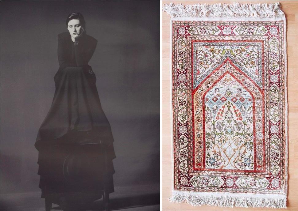 Links: JÜRGEN KLAUKE (*1943 Cliding) - Heimspiel, limitierter Fotodruck, signiert, 1999 | Rechts: Hereke aus reiner Seide, Türkei