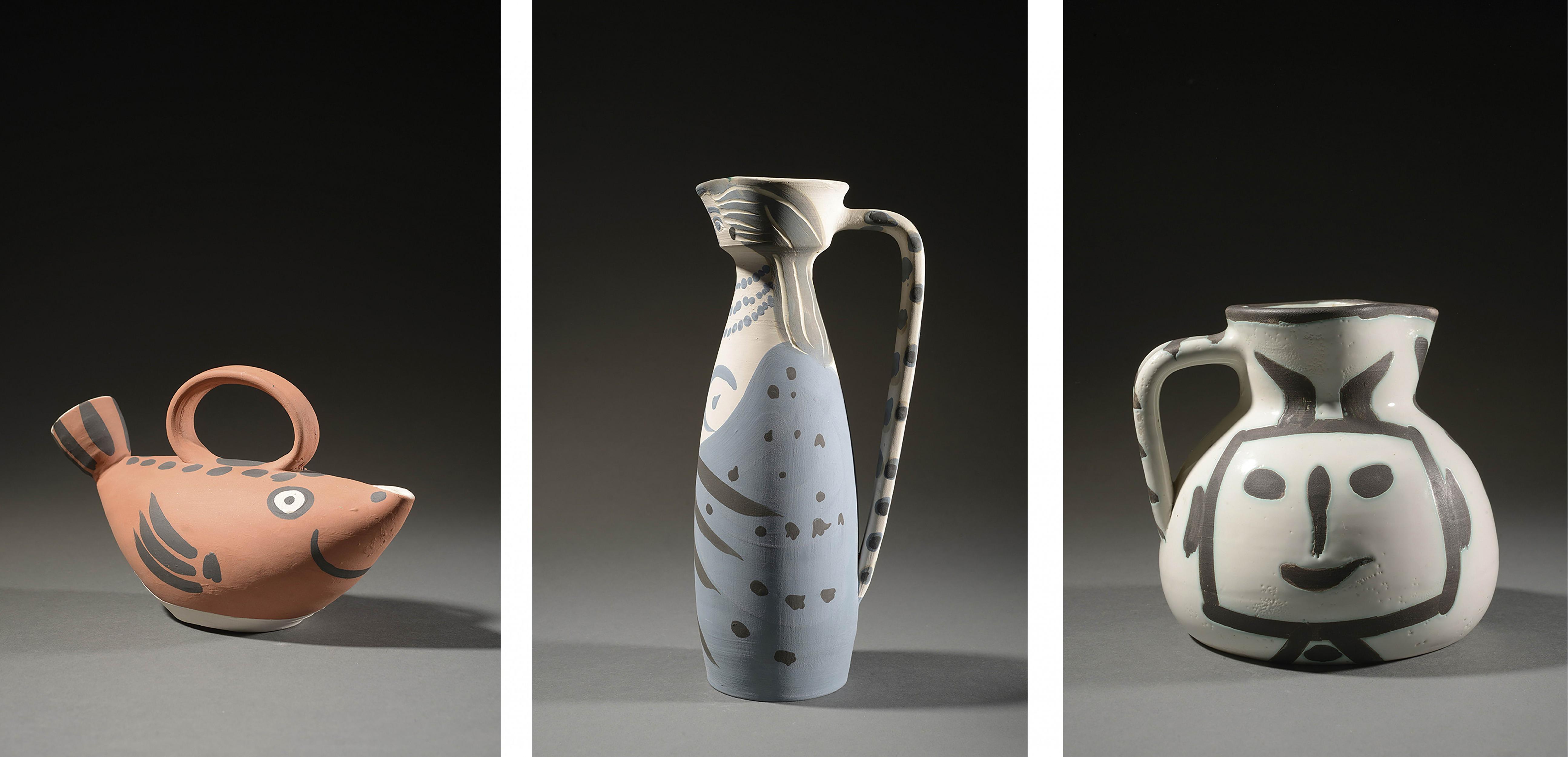 Pablo Picasso, pichets, « Sujet Poisson » 1952, « Femme » 1955, « Pichet Tête carrée » 1953, images ©HVMC